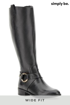 Simply Be Wide Fit Super Curvy Calf Stretch Leather Boots
