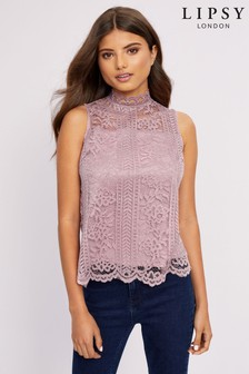 Lipsy High Neck Lace Top