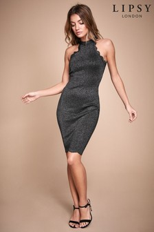 Lipsy Halterneck Scallop Lurex Dress