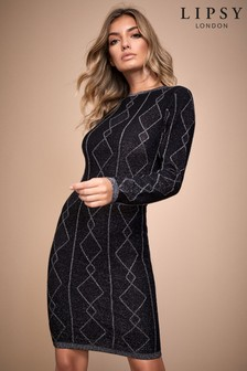 Lipsy Diamond Glitter Knitted Dress
