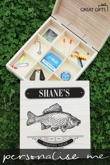 Personalised Fishing Gear Wooden Box by Great Gifts