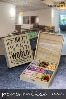 Personalised No.1 Dad Wooden Sweet Box by Great Gifts