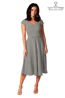 Want That Trend Ribbed Stripped Skater Dress