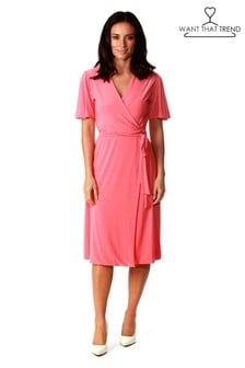 Короткое приталенное платье с запахом Want That Trend