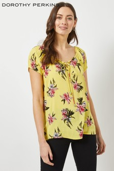 Dorothy Perkins Floral Crinkle Short Sleeve Gypsy Top
