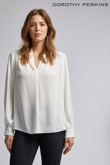 Dorothy Perkins Pleated Neck Long Sleeve Blouse