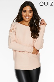 Quiz Light Knit Lace Rose Shoulder Detail Batwing Top