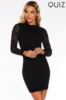 Quiz Light Knit Lace Sleeve Jumper Dress
