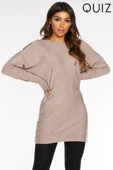 Quiz Cold Shoulder Diamond Pearl Jumper