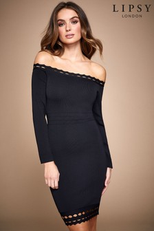 Lipsy Cut Out Bardot Long Sleeve Dress