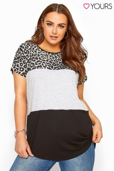 Yours Animal Print Colour Block Top