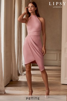 Lipsy Petite Halterneck Asymmetric Hem Bodycon Dress