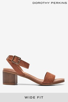 Dorothy Perkins Wide Fit Comfort Stack Heel Sandals