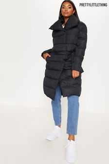 PrettyLittleThing Tie Wrap Padded Coat