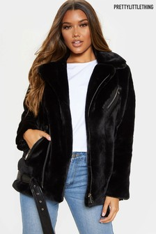 PrettyLittleThing Faux Fur Aviator Jacket
