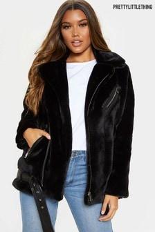 PrettyLittleThing Faux Fur Aviator Jacket