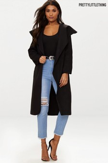 PrettyLittleThing Oversized Waterfall Belted Coat