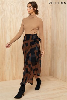 Religion Titan Midi Wrap Skirt