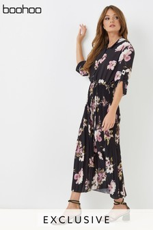 Boohoo Pleated Maxi Shirt Dress