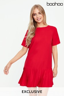 Boohoo Pleated Dropped Hem Dress