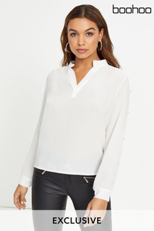 Boohoo V neck Pearl Sleeve Detail Blouse