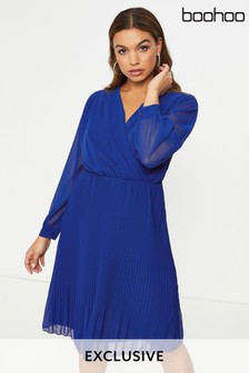 Boohoo Pleated Wrap Midi Dress