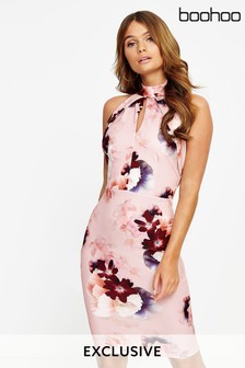 Boohoo Halter Neck Floral Bodycon Dress