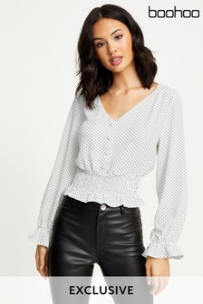 Boohoo Shirred Waist Blouse