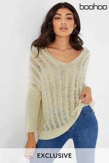 Boohoo Open Knit V neck Sweater