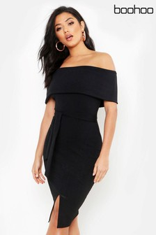 Boohoo Off The Shoulder Fold Over Slit Midi Bodycon Dress