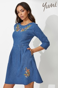 Yumi Bee Floral Embroidery Denim Dress