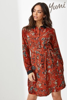 Yumi Chintzy Flower Bird Print Frill Shirt Dress