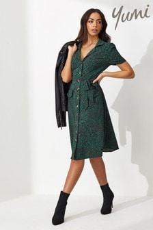 Yumi Ditsy Animal Retro Shirt Dress