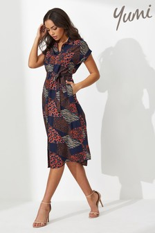 Yumi Patchwork Animal Print Shirt Dress