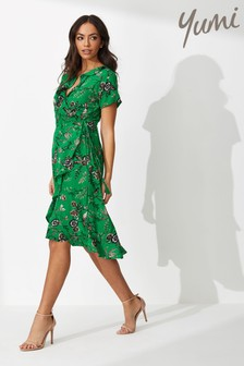 Yumi Chintzy Flower Bird Print Frill Wrap Dress