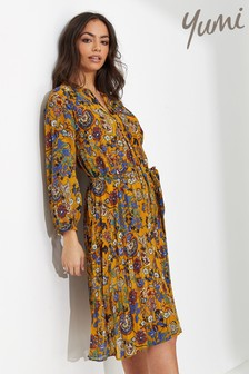 Yumi Indian Chintz Floral Pleated Tunic Dress