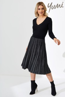 Yumi Pleated Knit Dress