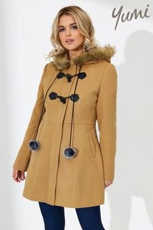 Yumi Faux Fur Trim Duffle Coat