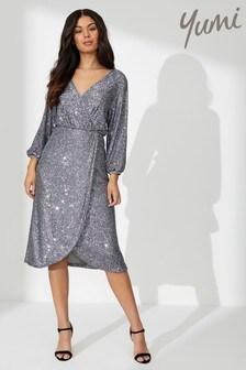 Yumi Sequin Wrap Dress