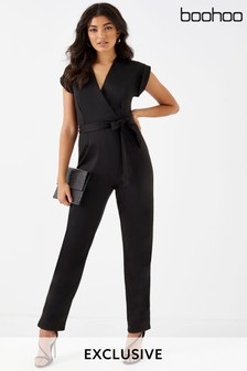 Boohoo Wrap Neck Jumpsuit
