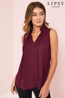 Lipsy Ruffle Tie Neck Sleeveless Top