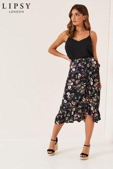 Lipsy Floral Print Wrap Midi Skirt