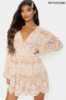 PrettyLittleThing Embroidered Belted Long Sleeve Dress