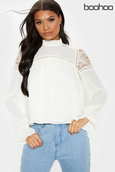 Boohoo Lace Shoulder Long Sleeve High Neck Blouse
