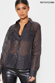 PrettyLittleThing Sheer Check Shirt