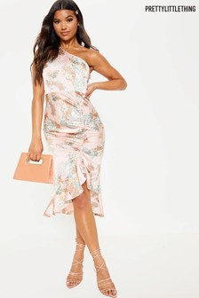 PrettyLittleThing Satin Floral Ruched One Shoulder Dress