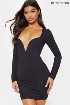 PrettyLittleThing Long Sleeve Plunge Bodycon Dress