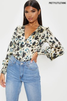 PrettyLittleThing Animal Print Button Front V neck Long Sleeve Blouse
