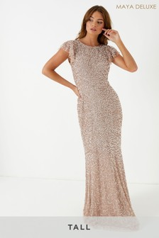 Maya Tall All Over Sequin Ruffle Sleeve Maxi Dress