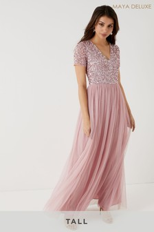 Maya Tall Short Sleeve Sequin Maxi Dress